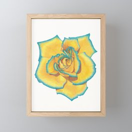 Yellow and Turquoise Rose Framed Mini Art Print