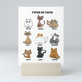 Cat Breeds Cat mother Lady funny gift Mini Art Print