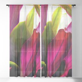 Ti Leaf Bouquet Sheer Curtain