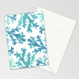 Blue Ombre Coral Stationery Cards