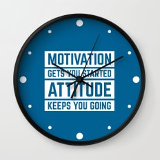 Motivation Gets You Started Gym Quote Wall Clock