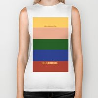 rushmore Biker Tanks featuring Rushmore minimalist poster by cinemaminimalist