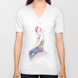 young clown in colorful costume Unisex V-Neck