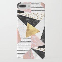 Elegant geometric marble and gold design iPhone Case
