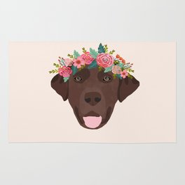 Chocolate Lab floral crown dog breed pet art labrador retrievers dog lovers giftsChocolate Lab flora Rug