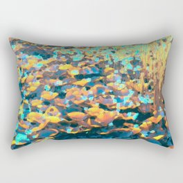 Colorful Lily Pads And River Grass Rectangular Pillow