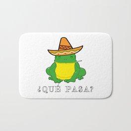 Qué Pasa? Funny Mexican Toad With Sombrero Cigarette Frogs & Amphibians Design Bath Mat