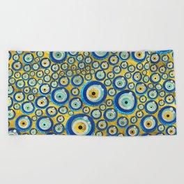 Greek Blue Glass Evil Eye Amulet Pattern Beach Towel