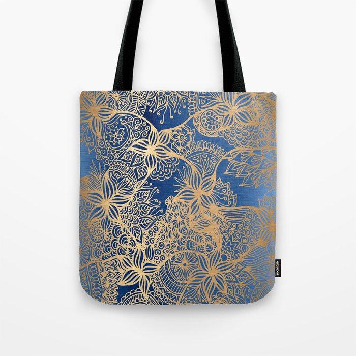 Blue and Gold Zen Doodles Tote Bag