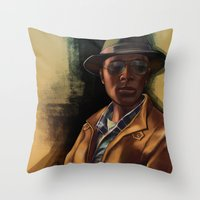 grand theft auto Throw Pillows featuring Grand Theft Auto Online Characters - The Lazy of The Damned by W.Flemming