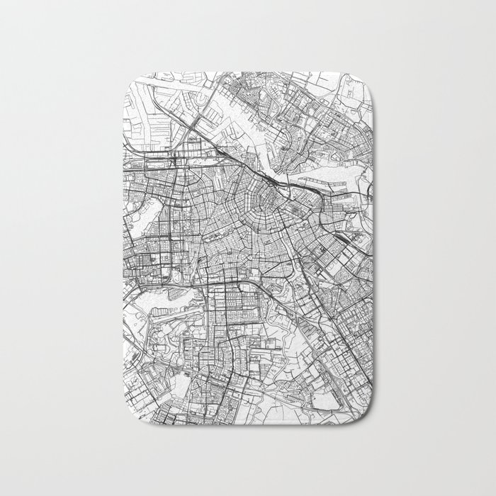 Amsterdam White Map Bath Mat