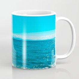 Blue sea at Greece with stony beach Coffee Mug