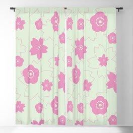 Sakura blossom - spring green Blackout Curtain