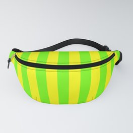 Super Bright Neon Yellow and Green Vertical Beach Hut Stripes Fanny Pack