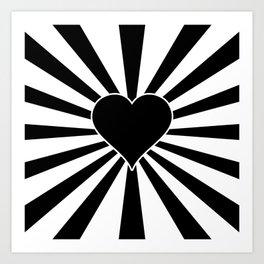 Black and White Love Heart Valentines Bursting Heart Art Print