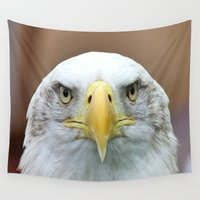 fierce Wall Tapestries featuring Fierce Eagle Stare  by Barrier Style & Design