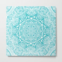 Aqua Blue Mandala Metal Print