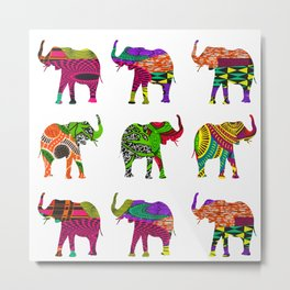 Bright&Bold RetroAfro Elephants Metal Print