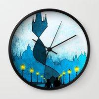 prague Wall Clocks featuring prague by Darthdaloon