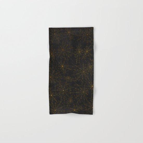 Autumn-world 4 - gold spiderwebs on chalkboard Hand & Bath Towel