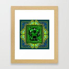 DECORATIVE  GREEN EMERALD GEM & BUTTERFLY ART DESIGN Framed Art Print