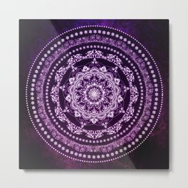 Purple Glowing Soul Mandala Metal Print