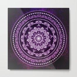 Purple Glowing Soul Mandala Metal Print