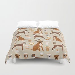 Boxer dog breed coffee pet gifts boxers pupuccino Duvet Cover