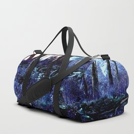 Alien planet sunset in the forest blue indigo purple Duffle Bag