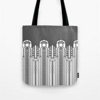 art deco Tote Bags featuring Art deco by Textile Candy
