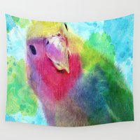 parrot Wall Tapestries featuring parrot by yume