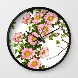 Vintage Japanese Cherry Blossoms, Pink and Gold Wall Clock