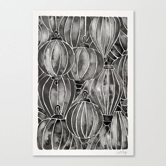 Black Vietnamese Lanterns Canvas Print