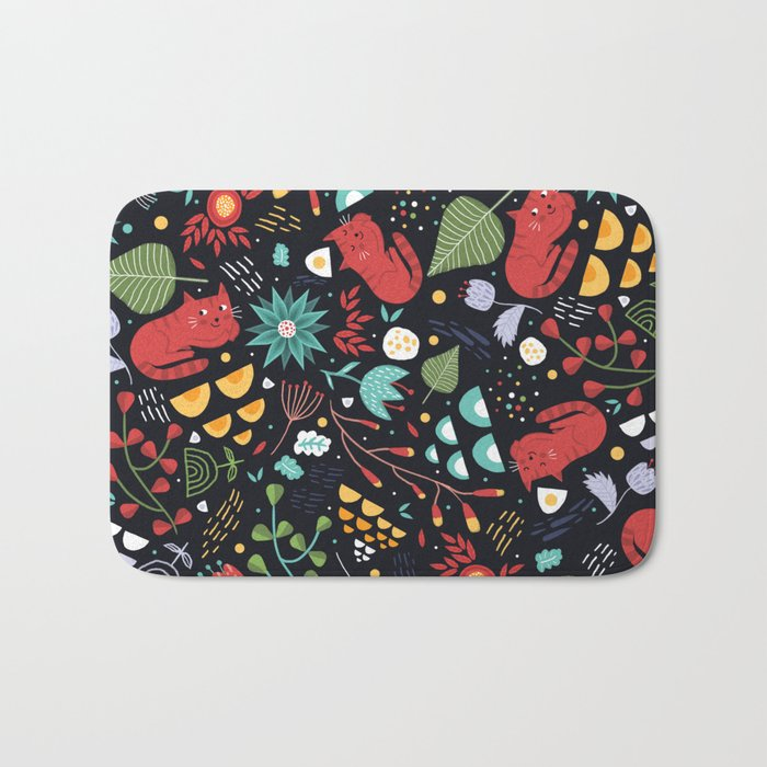 cats and flowers Bath Mat