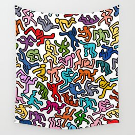 Homage to Keith Haring Color Wall Tapestry