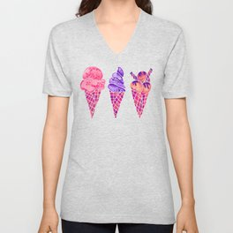 Ice Cream Cones – Fuchsia Palette Unisex V-Neck