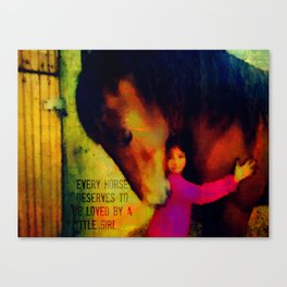 Little girl and horse Canvas Print