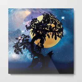 Wolf howling at the full moon Metal Print