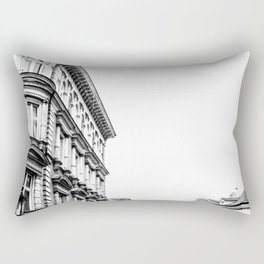 California Charm   Black and White Eureka CA Downtown Buildings Cityscape Photograph Rectangular Pillow