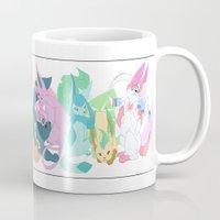 eevee Mugs featuring Eevee evolutions by StrawberryOverlord