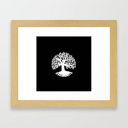 black and white abstract tree of life II Framed Art Print