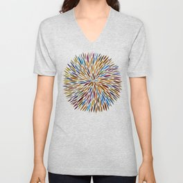 Watercolor Burst – Retro Palette Unisex V-Neck