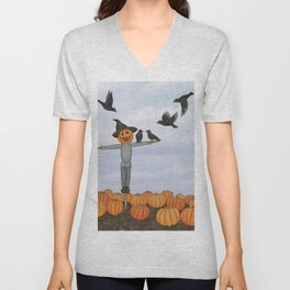 scarecrow and crows in the pumpkin patch Unisex V-Neck