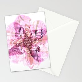 Abstract digital flower in pink Stationery Cards