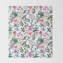 Pink purple green white watercolor bohemian feathers floral by pink_water