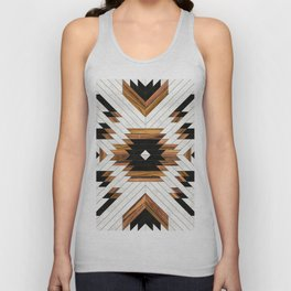 Urban Tribal Pattern 5 - Aztec - Concrete and Wood Unisex Tank Top