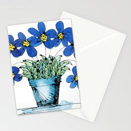 Seven Flowers (Blue): cheery original art in a loose style, simple flowers in a turquoise pot Stationery Cards