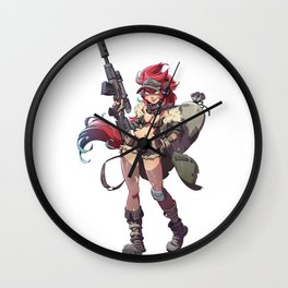 Cute Sniper Girl Illustrated Pin Up Wall Clock