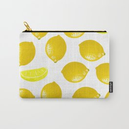 Lemon Pattern Home Decor Wall Hanging Art Print Modern Graphic Design Yellow White Interior Carry-All Pouch