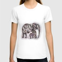 mom T-shirts featuring Mom Eephant by Harsh Malik